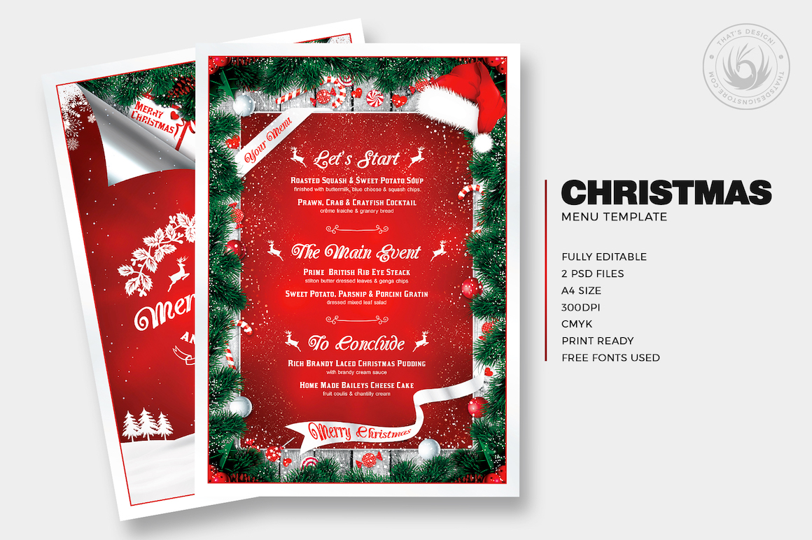 Christmas Menu Template PSD Download for Photoshop V6