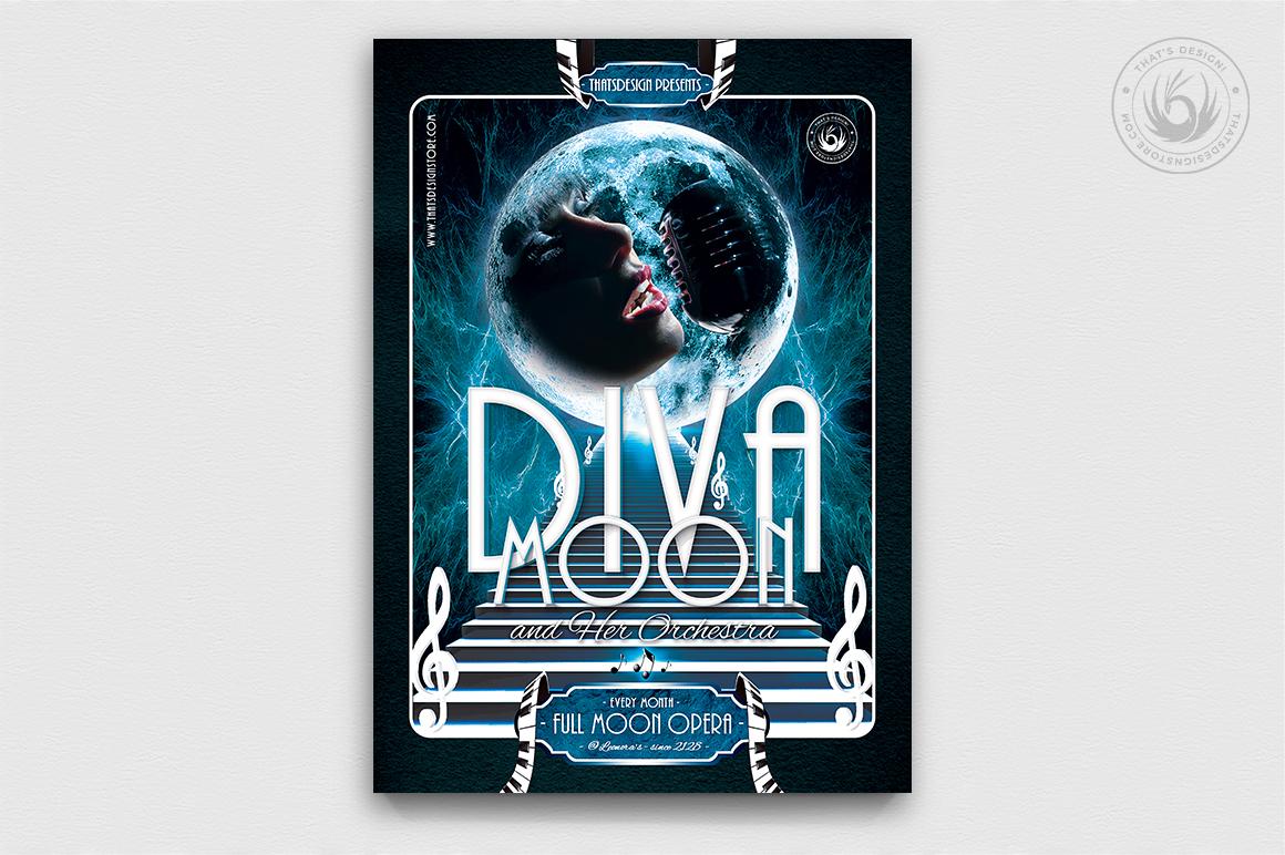 Retro Futuristic Full Moon Opera Flyer Template, Concert posters