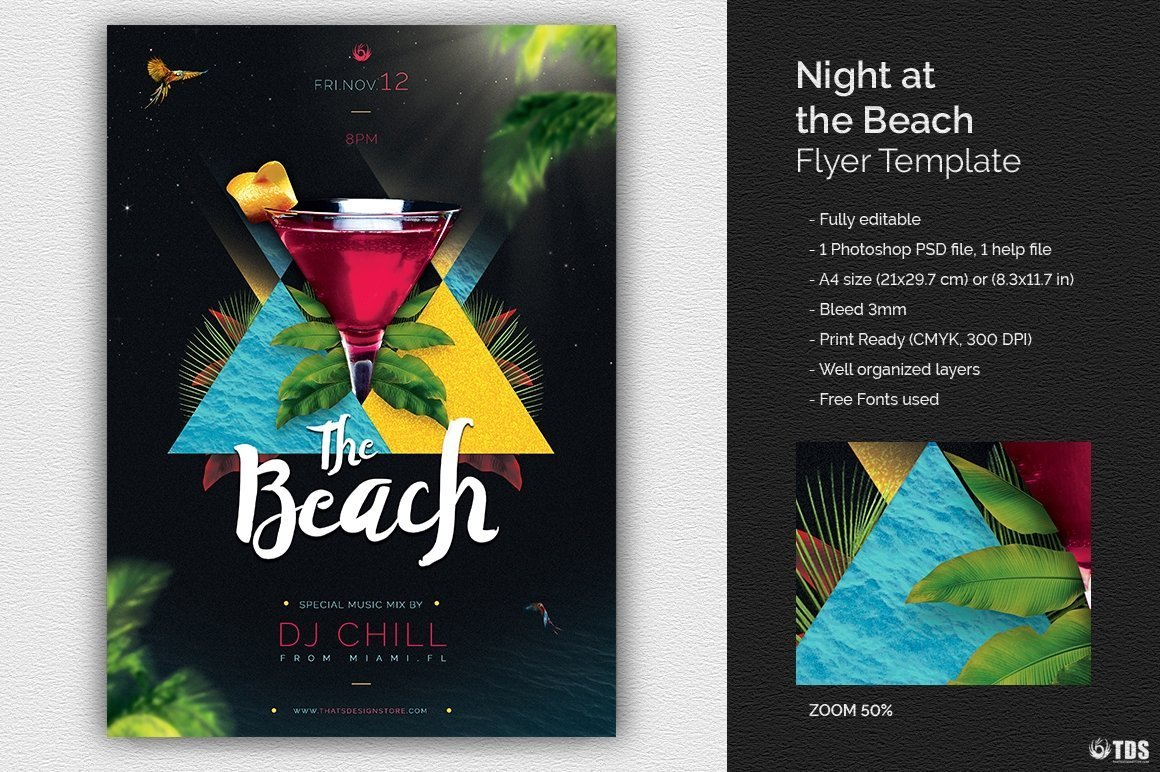 Night At The Beach Flyer Template Free Posters Design