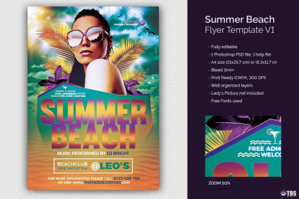 Summer Beach Flyer Template for any beach party,festival, club or cocktails bar event. Pool or garden party with Dj set mixing chillout, lounge music for a tropical sunset, summer camp holidays