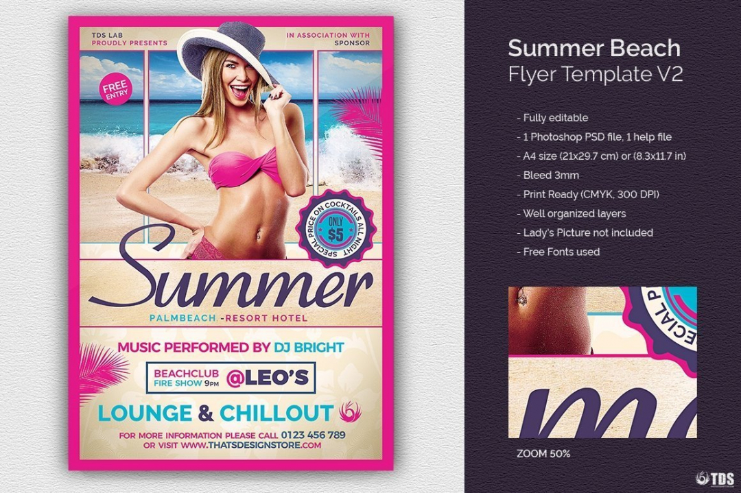 Summer Beach Flyer Template V2 for any festival, club or cocktails bar event. Pool or garden party with Dj set mixing chillout, lounge music for a tropical sunset, summer camp holidays