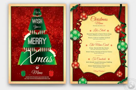 Christmas Menu Template PSD Download design V7