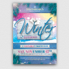 Winter Season Flyer Template Psd download V3, solstice, Ice party, skiing competition or mountain sports event, Snow Ice party