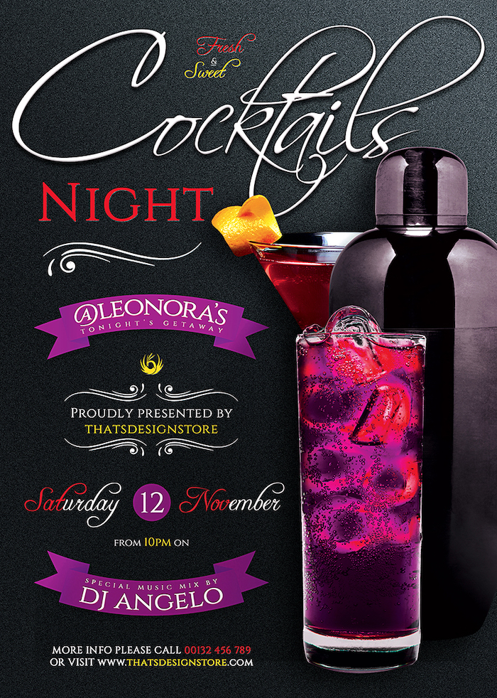 Cocktails Night Flyer Template psd download, drinks happy hour