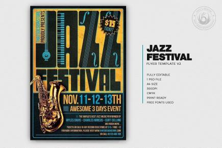 Jazz Festival Flyer Template PSD download V2