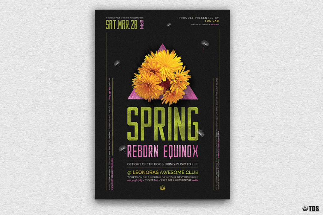 Spring equinox Party Flyer Psd Templates, green day