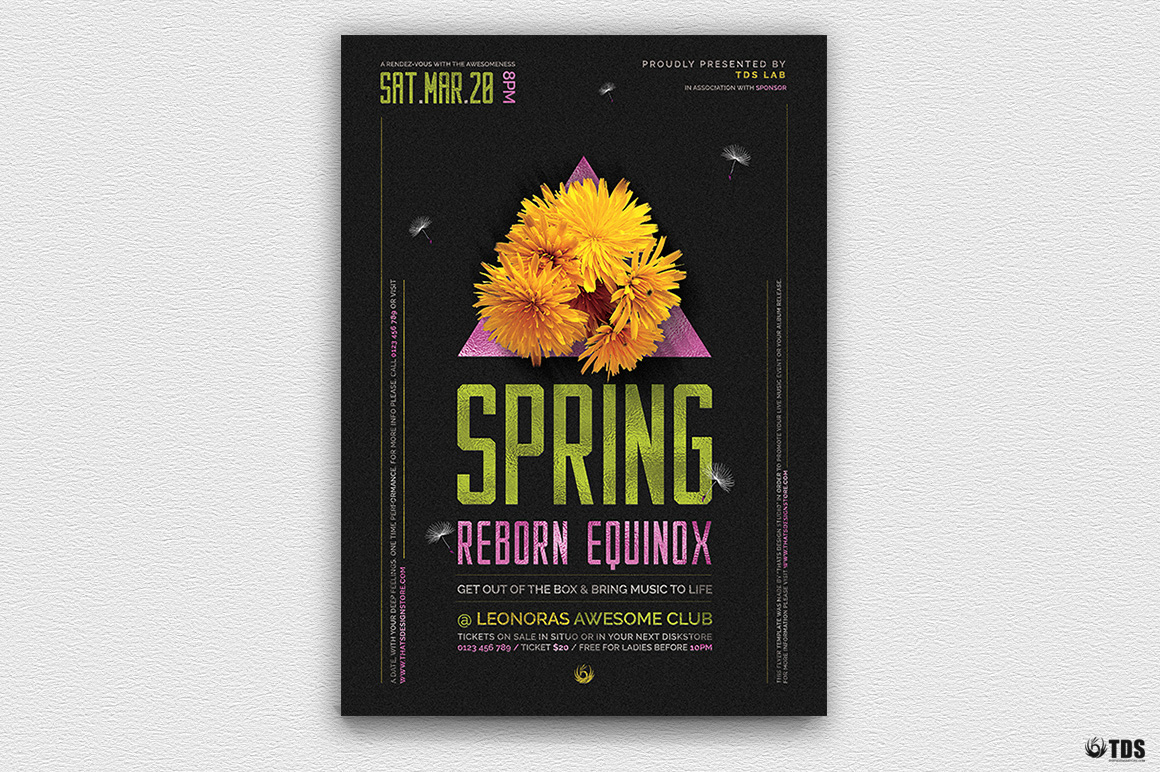 Spring equinox Party PSD Flyer Psd Templates, green day