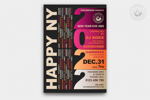 New Year Flyer Template Psd for photoshop V3