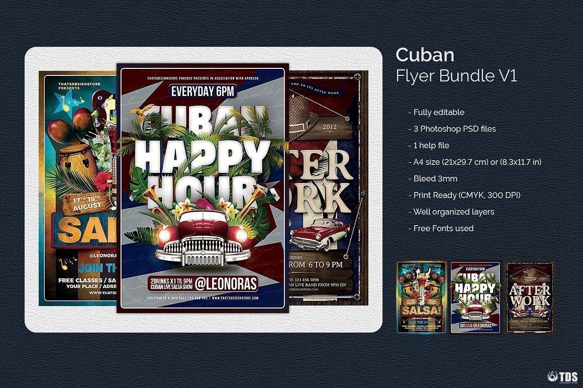 Cuban salsa Psd flyer templates