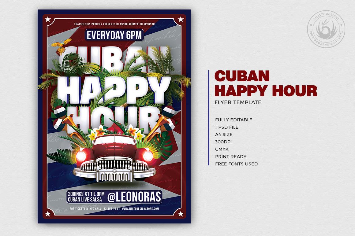 Cuban Happy Hour Flyer Template