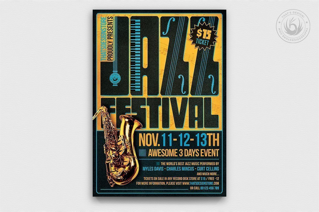 Jazz Festival Flyer Template PSD download V2