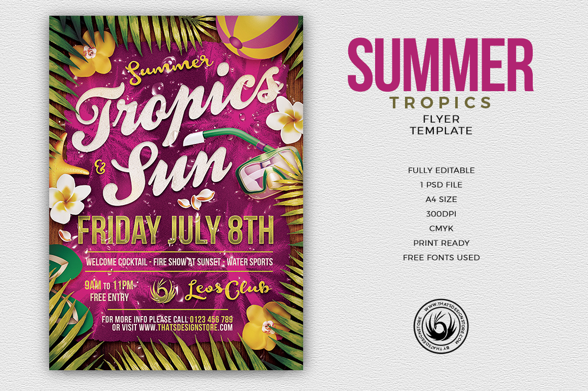 Summer Tropics Flyer Template for any beach party,festival, club or cocktails bar event. Pool or garden party with Dj set mixing chillout, lounge music for a tropical sunset, summer camp holidays