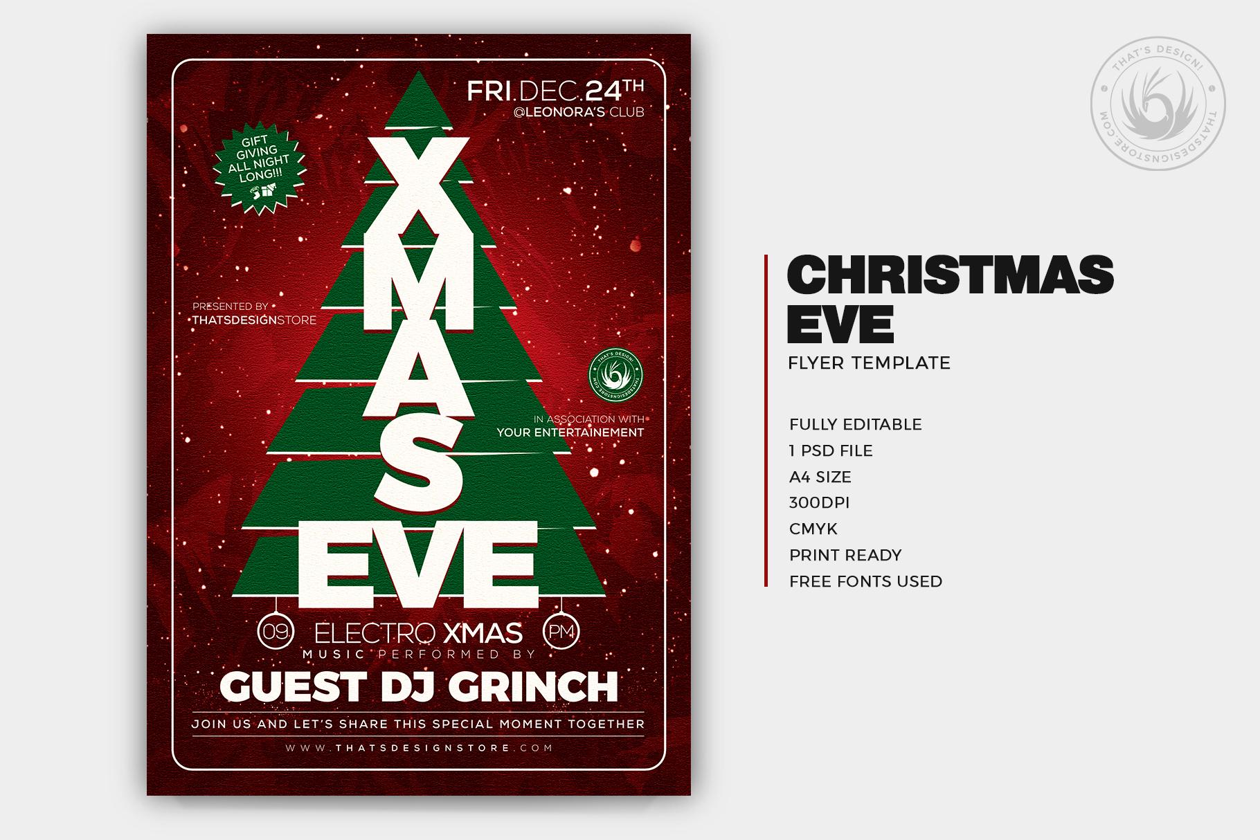 Christmas Eve Flyer template psd vol.6