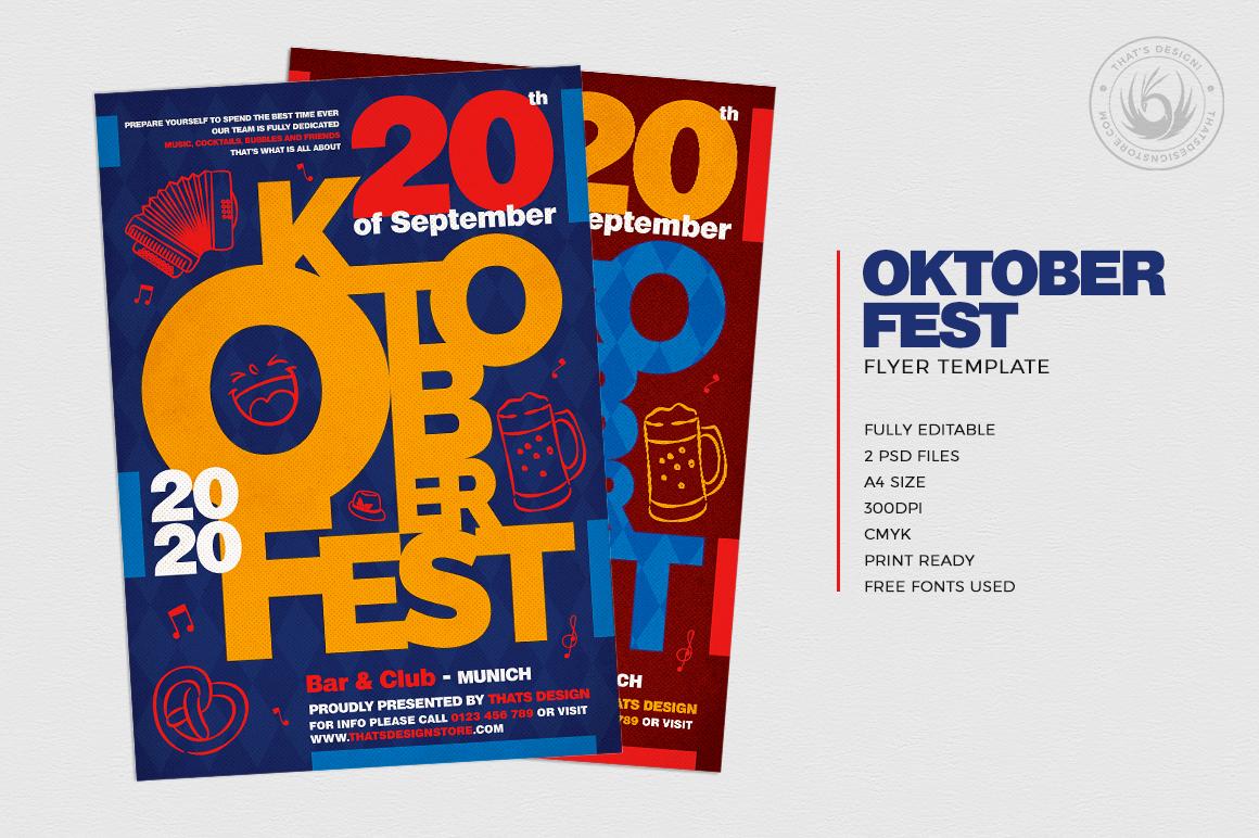Oktoberfest Flyer Template V8, beer party psd flyers