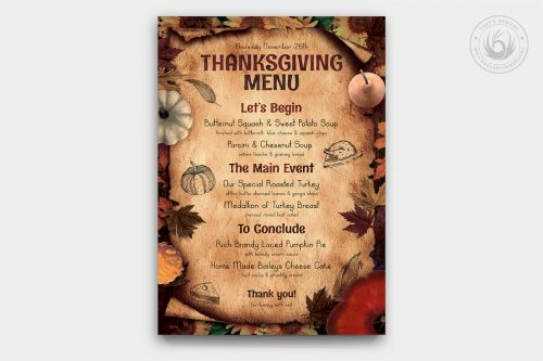 Thanksgiving Menu Template PSD Download V2