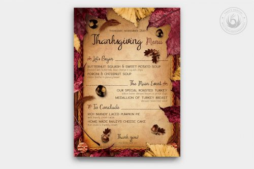 Thanksgiving Menu Template PSD Download V3