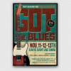 Blues Festival Flyer Template V1 designed to promote a Jazz Band, Concert.