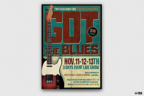 Blues Festival Flyer Template V1designed to promote a JazzBand, Concert.
