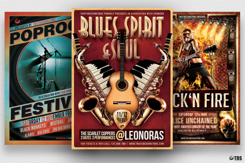 Concert Live Flyer Bundle V1 Psd download to customize with photoshop