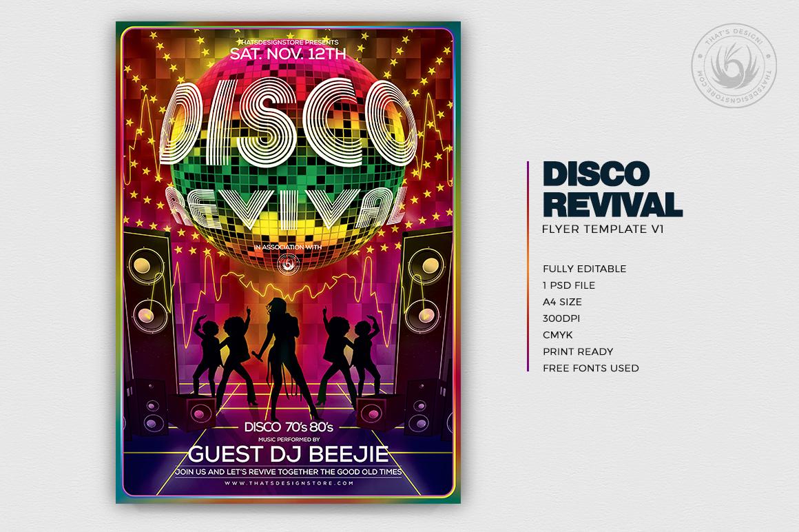 disco revival flyer template revival flyer design store. Black Bedroom Furniture Sets. Home Design Ideas