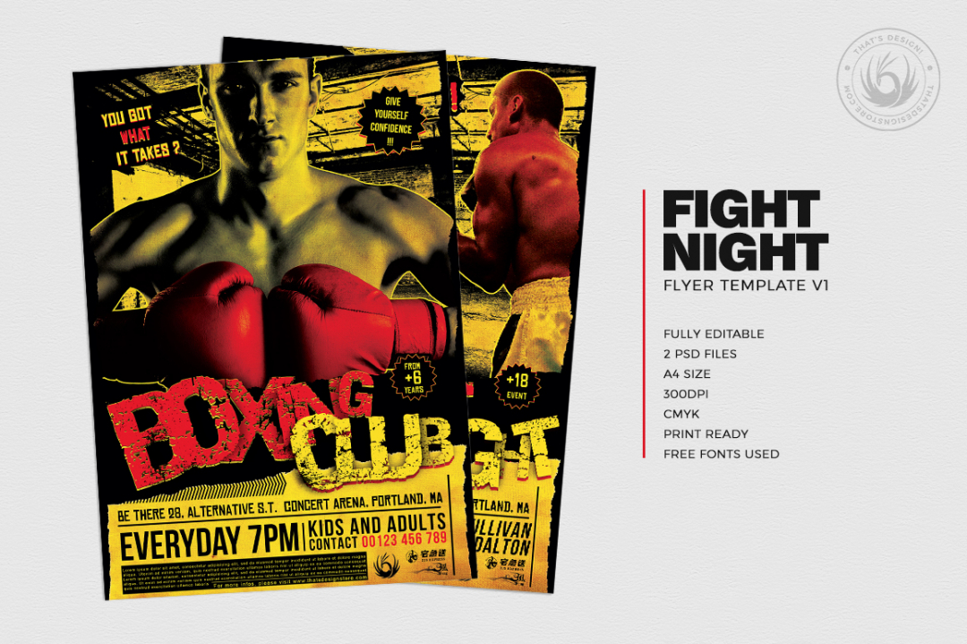 Fight Night Boxing Club Flyer Template PSD download