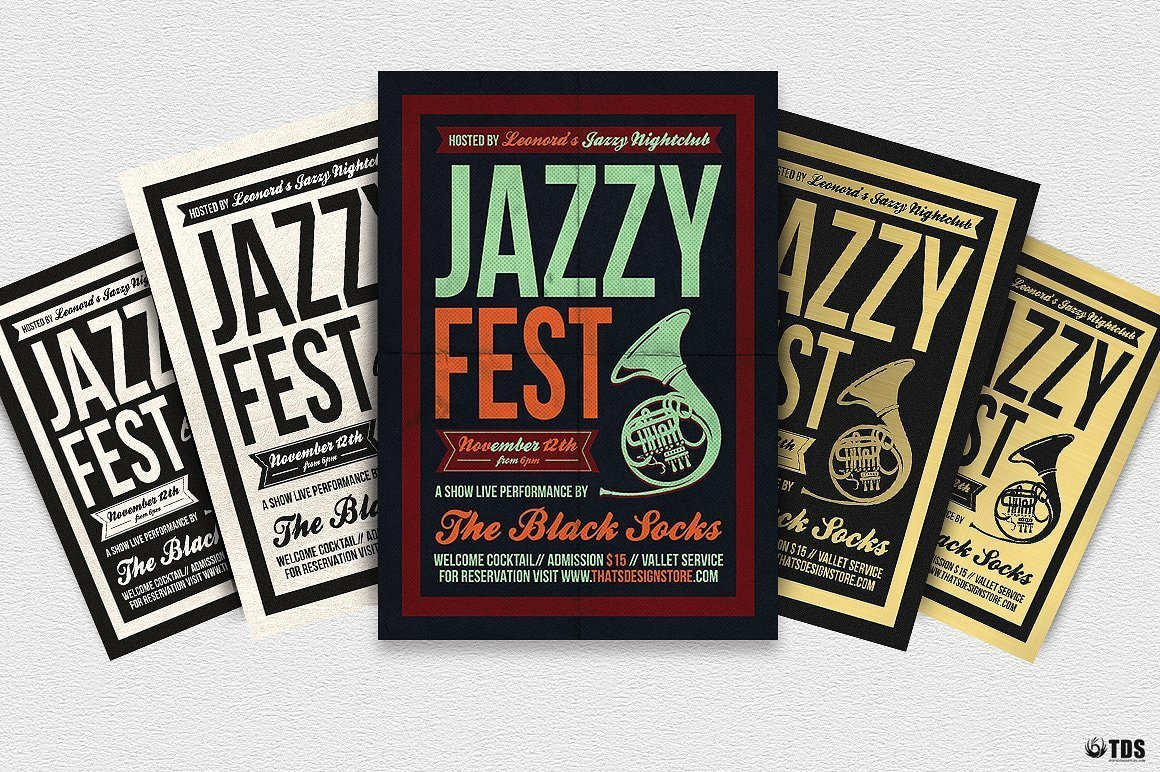 Jazzy Fest Flyer Template psd download V3