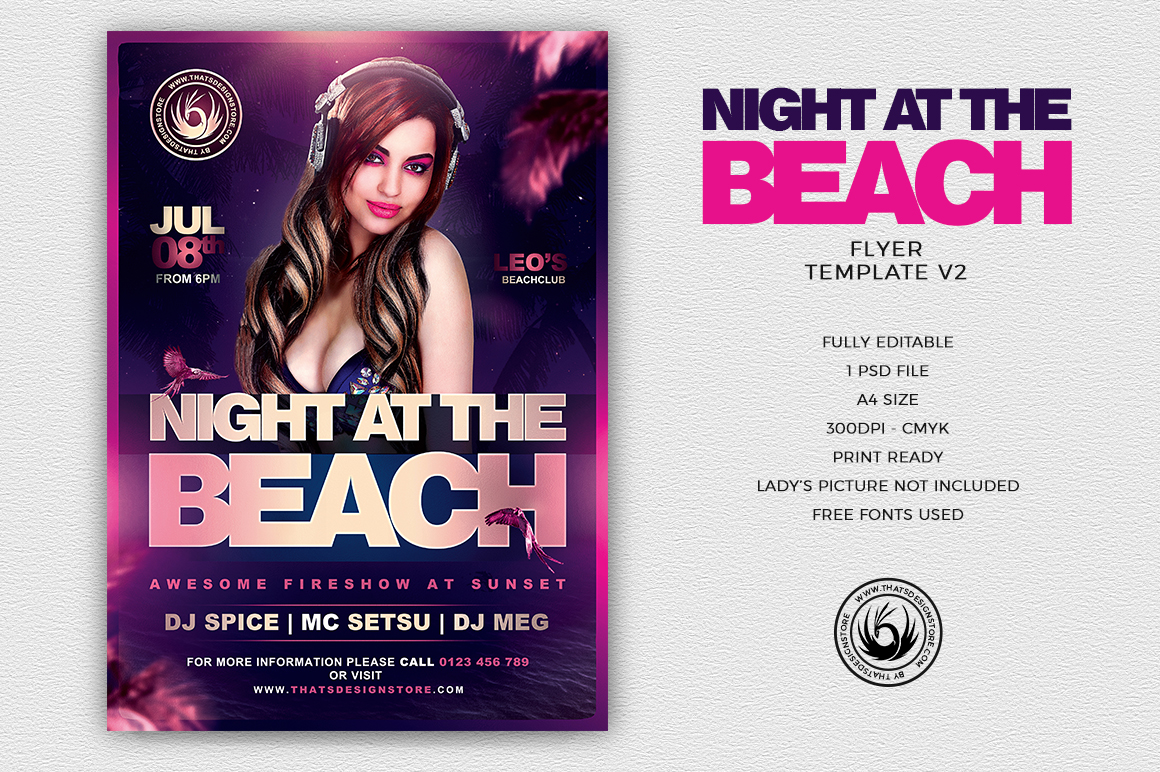 Night at the Beach Flyer Template V2 for any summer festival, club or cocktails bar event. Pool or garden party with Dj set mixing chillout, lounge music for a tropical sunset