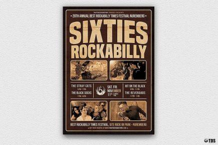 Sixties Rockabilly Flyer Template, Concert psd flyers