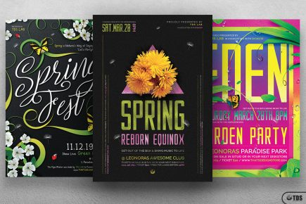 Spring Festival Flyers Bundle Psd download, earth day, ecological, green