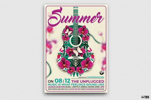 Summer Unplugged Flyer Template for any beach party,festival, club or cocktails bar event. Pool or garden party with Dj set mixing chillout, lounge music for a tropical sunset, summer camp holidays