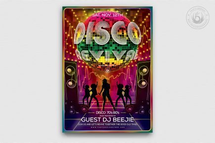 Disco Revival Flyer Template Psd download, Saturday night fever, Remember, flower power, 70's, 80's, 90's, Afro party