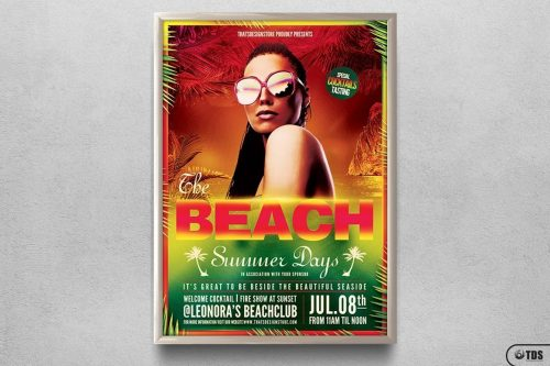 Summer Days Flyer Template for any beach party,festival, club or cocktails bar event. Pool or garden party with Dj set mixing chillout, lounge music for a tropical sunset, summer camp holidays
