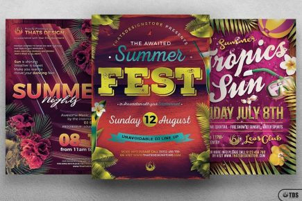 Summer Camp Flyers Template Psd for any beach party,festival, club or cocktails bar event. Pool or garden party with Dj set mixing chillout, lounge music for a tropical sunset, summer camp holidays