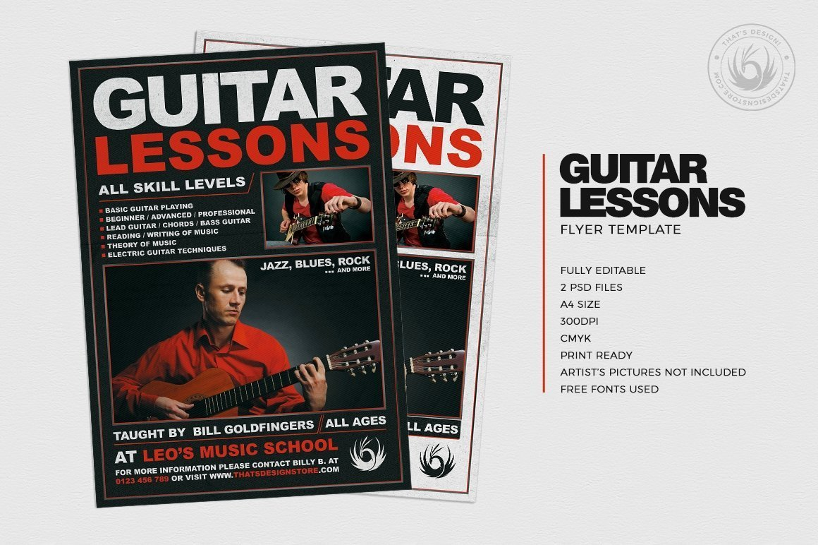 Download this Guitar lessons Flyer Template PSD editable with Photoshop and start promoting your Teacher courses in minutes!