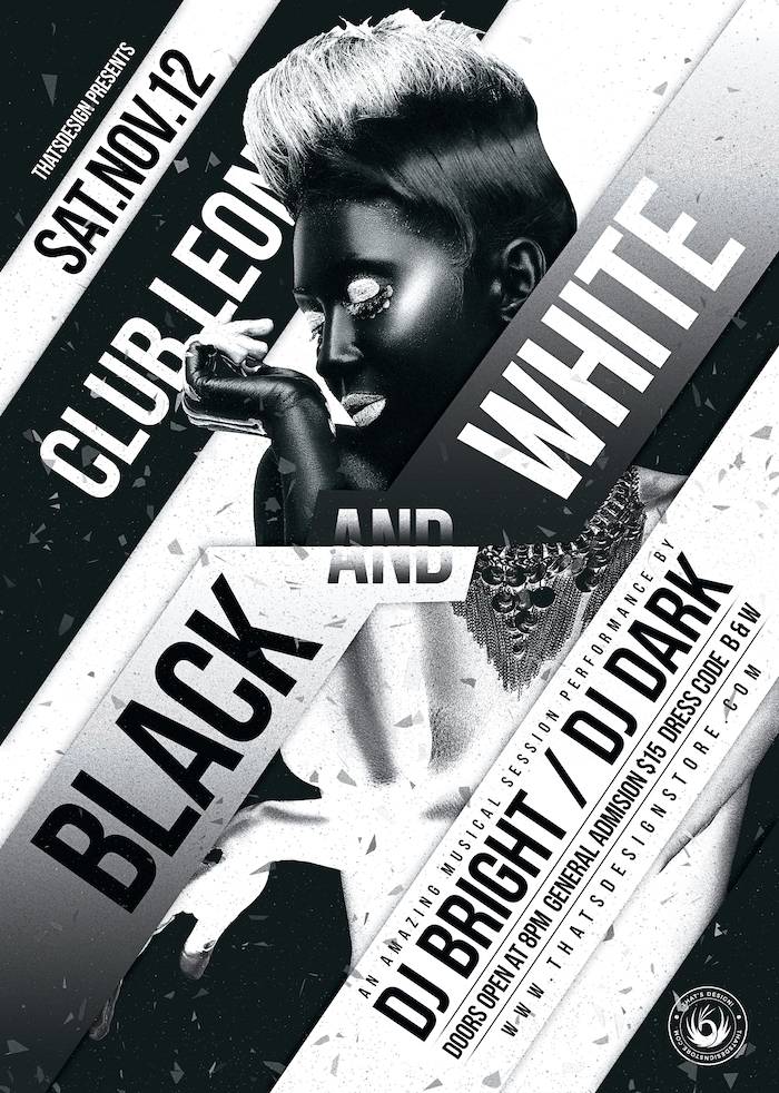 Black & White Party Flyer Template, Club posters Psd design