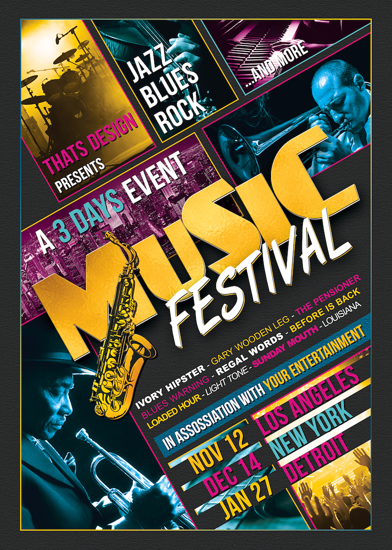 Music Festival Flyer Template psd download, live band poster