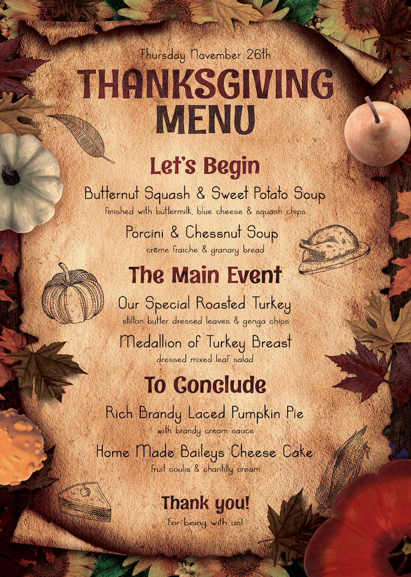 Thanksgiving Menu Template PSD Download V2