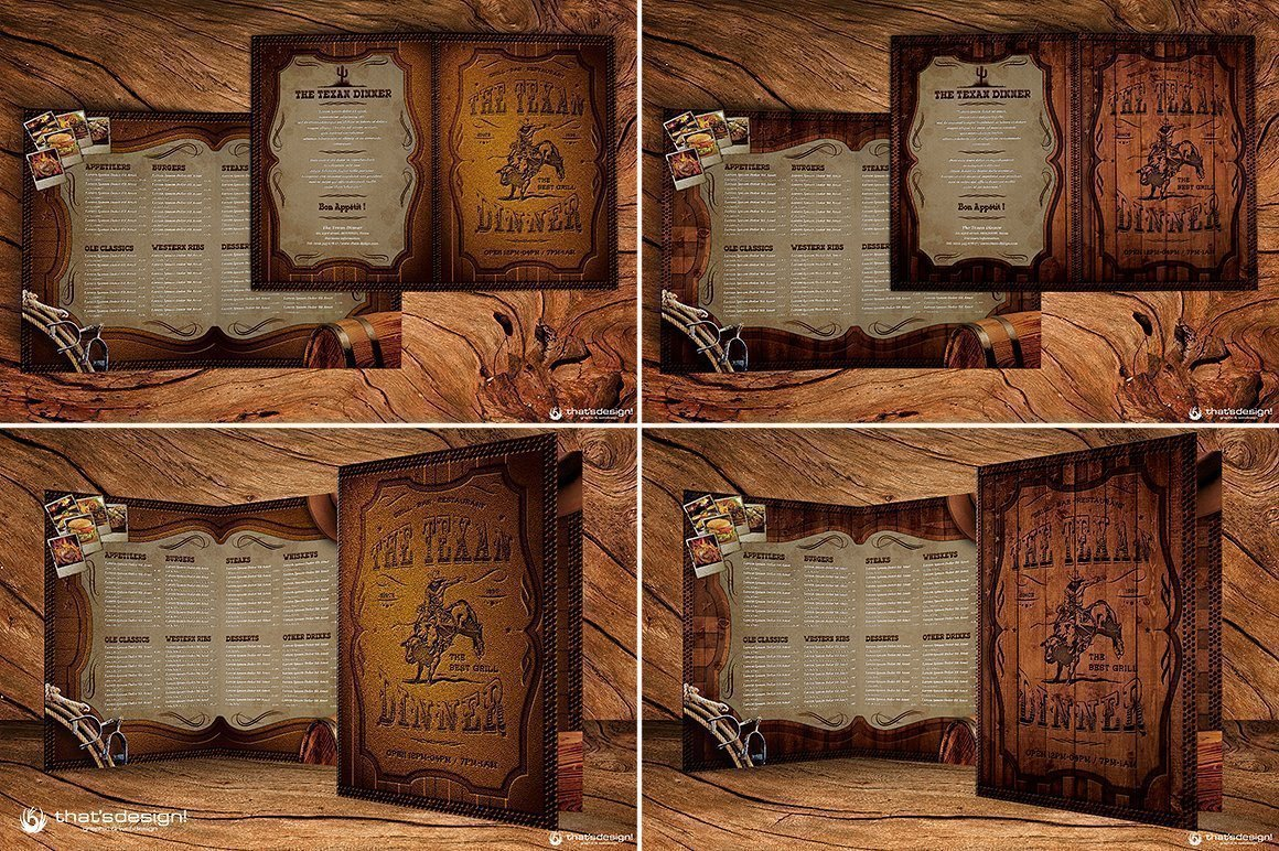Western Grill Restaurant Menu Card Template