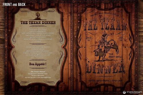 Western Grill Restaurant Menu Card Template