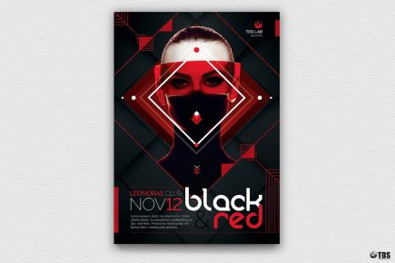 Black & Red Flyer Template V4, Party Club Flyers Posters, Psd design