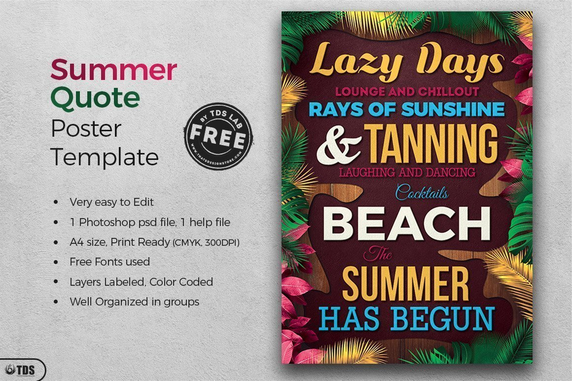 Free Summer Quotes Flyer Template, Download freebies for free for any beach party,festival, club or cocktails bar event. Pool or garden party with Dj set mixing chillout, lounge music for a tropical sunset, summer camp holidays