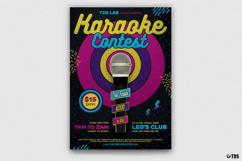 Karaoke Night Party PSD flyer poster templates, room, bar, contest, Open mic