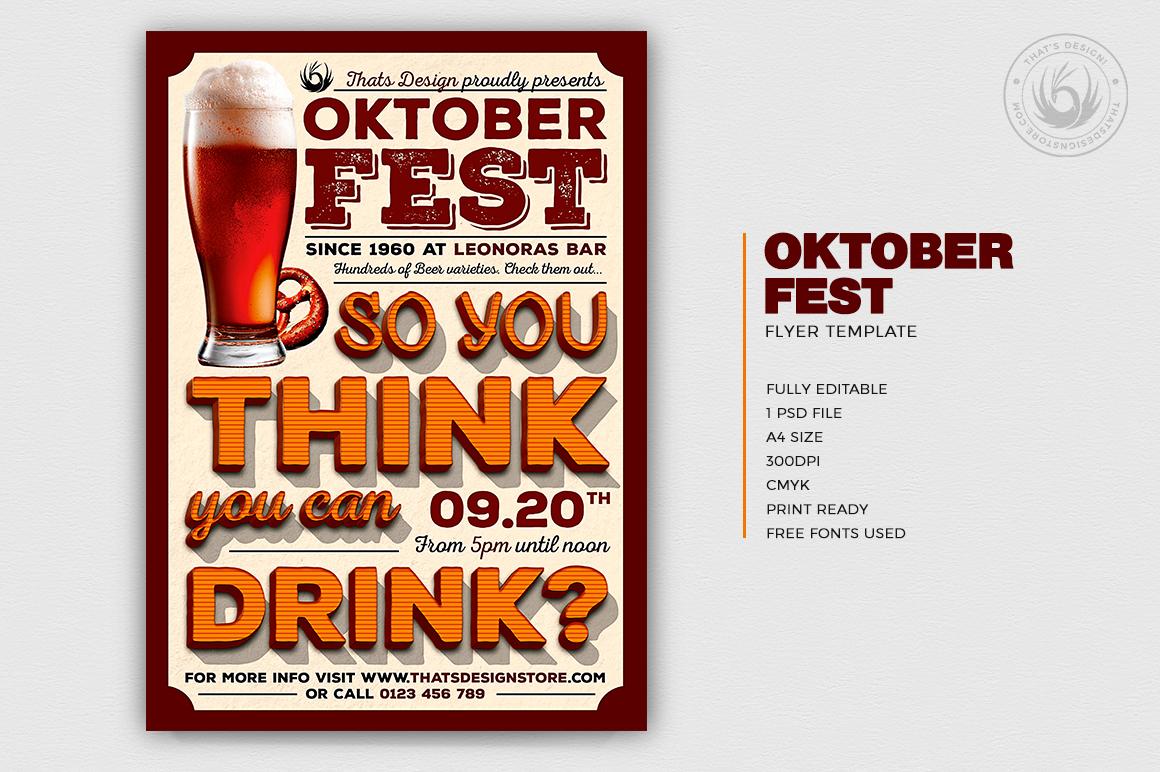 Oktoberfest Flyer Template V9, beer party psd design