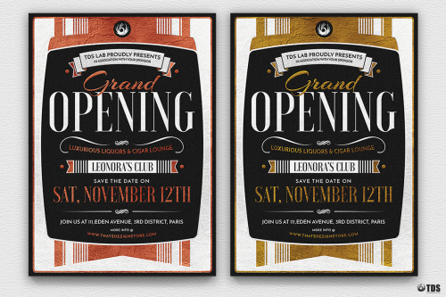Restaurant Grand Opening Flyers Posters PSD Templates, invitations, night club, lauching party