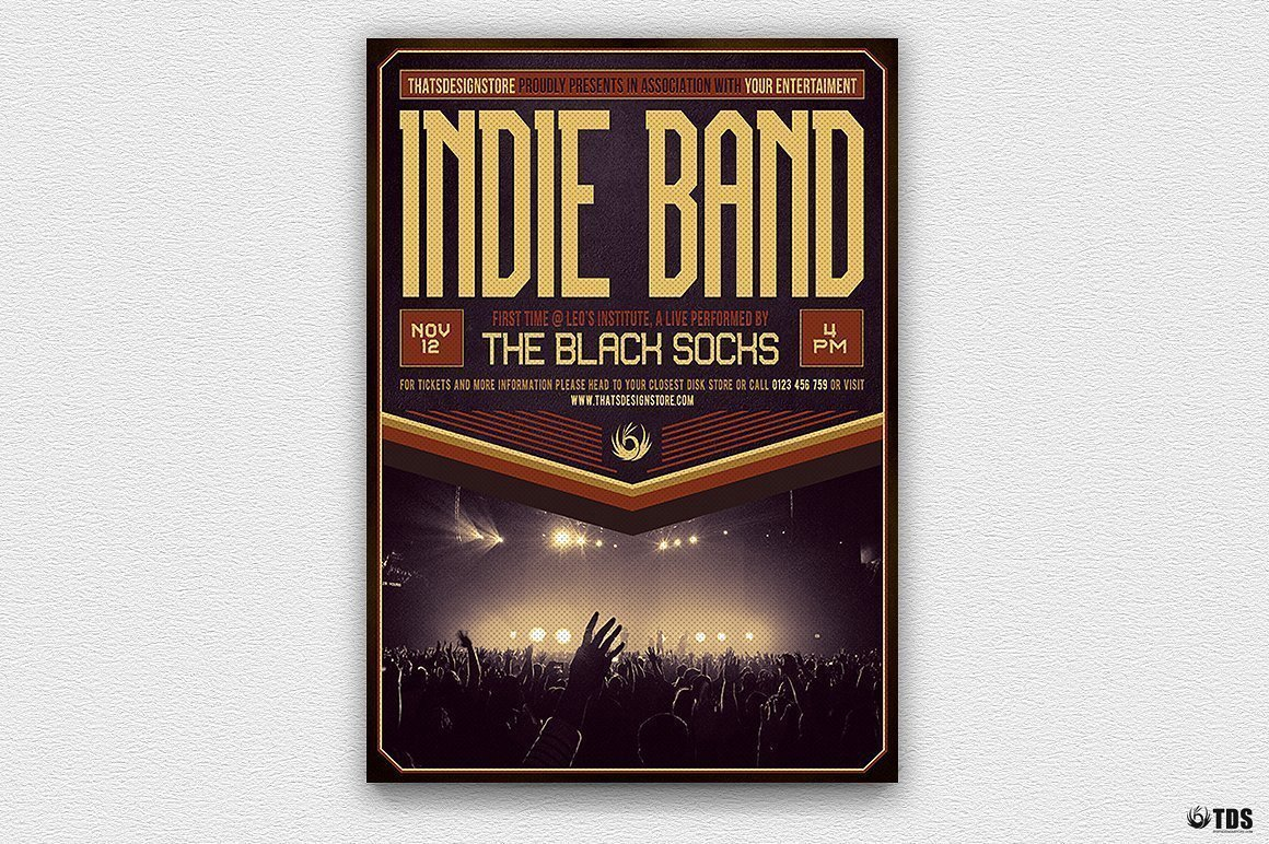 Indie Band Flyer Template psd download V4