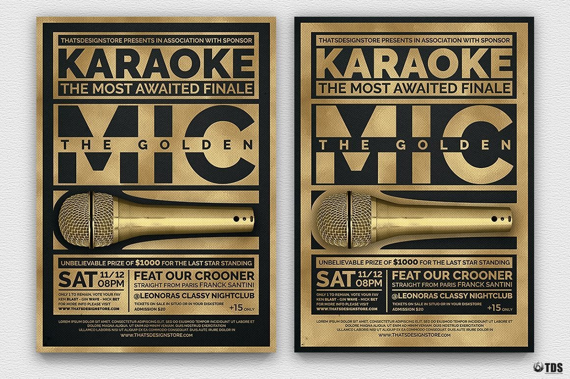 Karaoke Night Party PSD flyer templates, room, bar, contest, Open mic poster