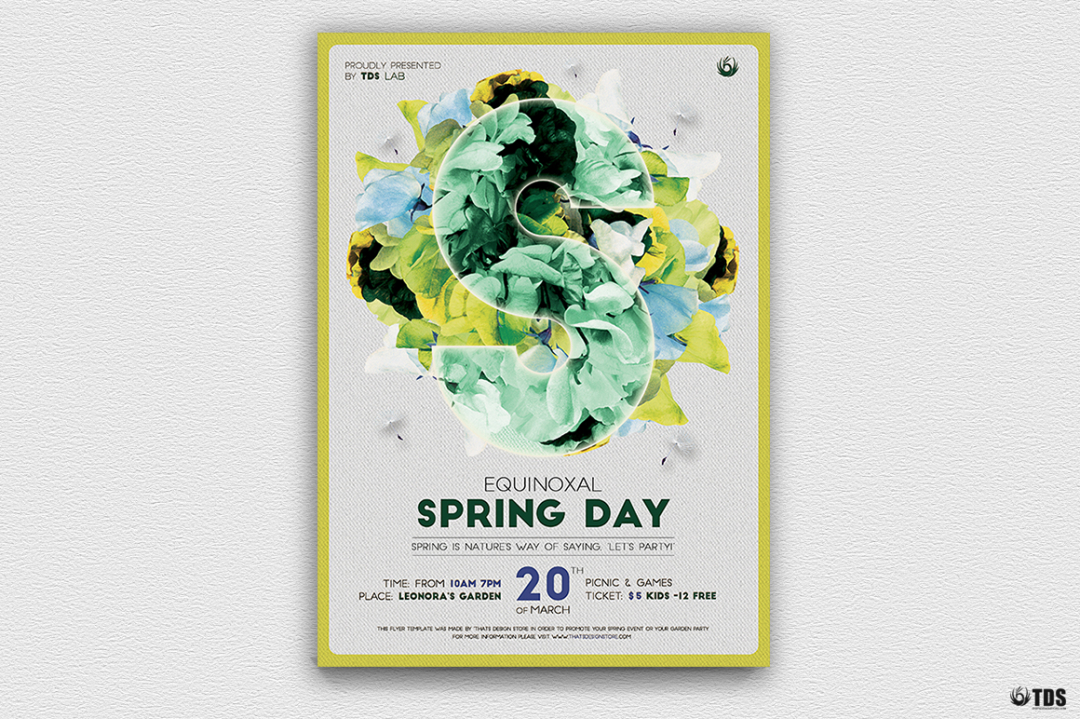 Spring day Flyer Template Psd download, earth day, ecological, green