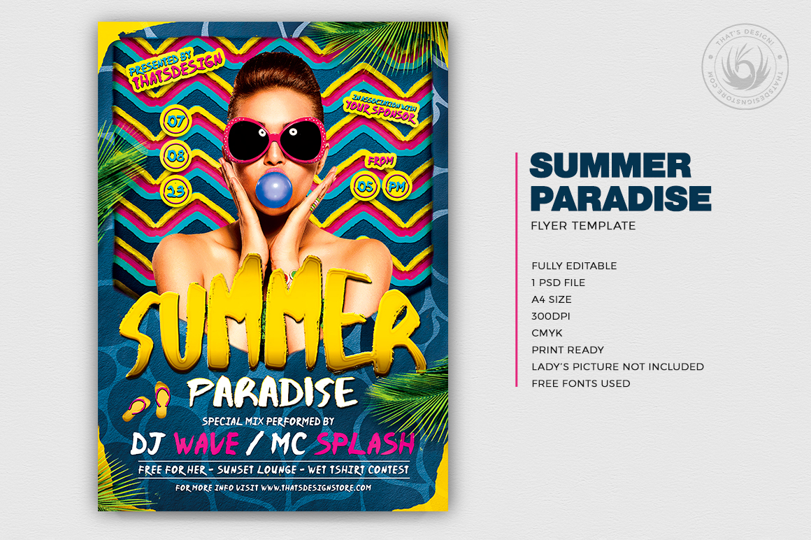 Summer Paradise Flyer Template for any beach party,festival, club or cocktails bar event. Pool or garden party with Dj set mixing chillout, lounge music for a tropical sunset, summer camp holidays