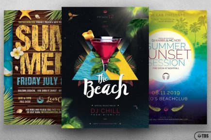 Summertime Flyer templates Bundle V2 for any beach party,festival, club or cocktails bar event. Pool or garden party with Dj set mixing chillout, lounge music for a tropical sunset, summer camp holidays
