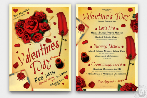 Valentines Day Flyer Psd + Menu templates Bundle V5 Psd download to customize with photoshop